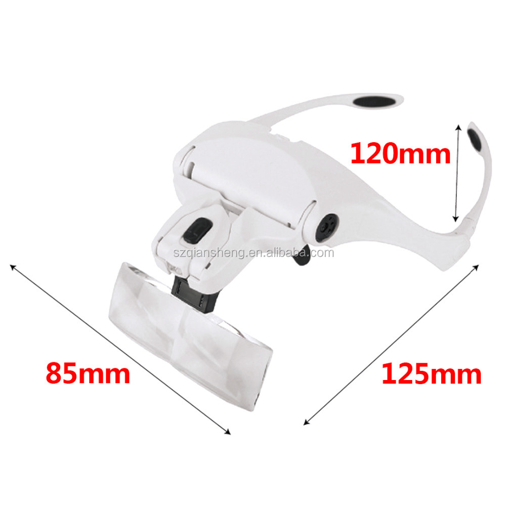 Adjustable 5 Lens Loupe LED Light Headband Magnifier Glass LED Magnifying Glasses With Lamp