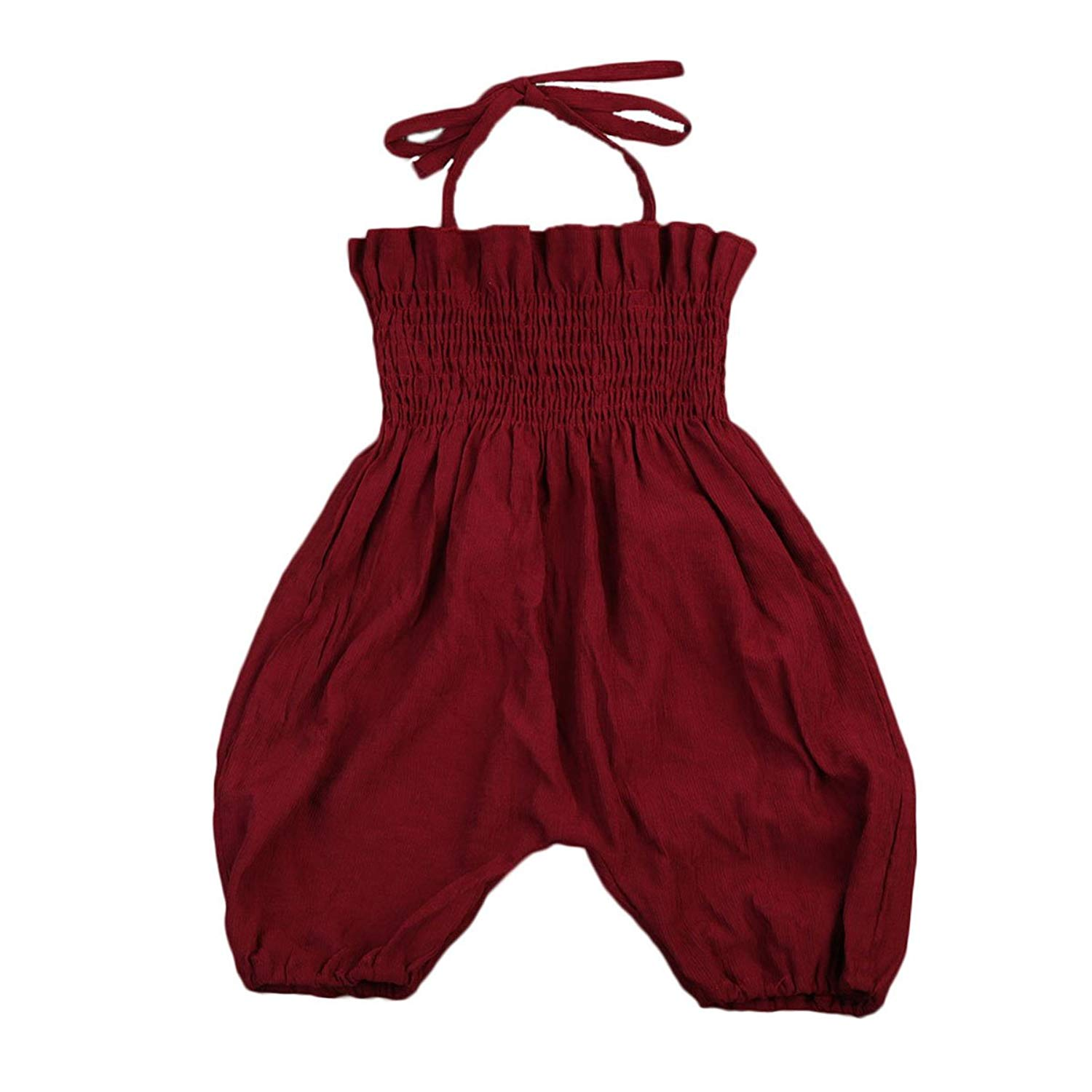8fb3181f9010 Get Quotations · Baby Toddler Girls Off Shoulder Tube Top Thin Strap Jumpsuit  Romper Overalls Pant