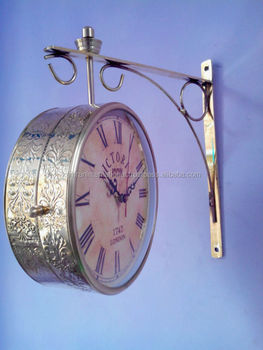 silver color embossed double side station wall clock with bracket drum clock train station