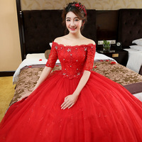 ZH0393Q 2017 new high-end lace off shoulder bridal wedding big red and white wedding dress