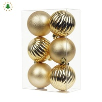 Factory price 6cm 8cm 10cm christmas tree hanging decoration plastic ball set