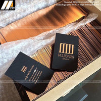 Luxury black card copper foil stamp debossed photo business cards