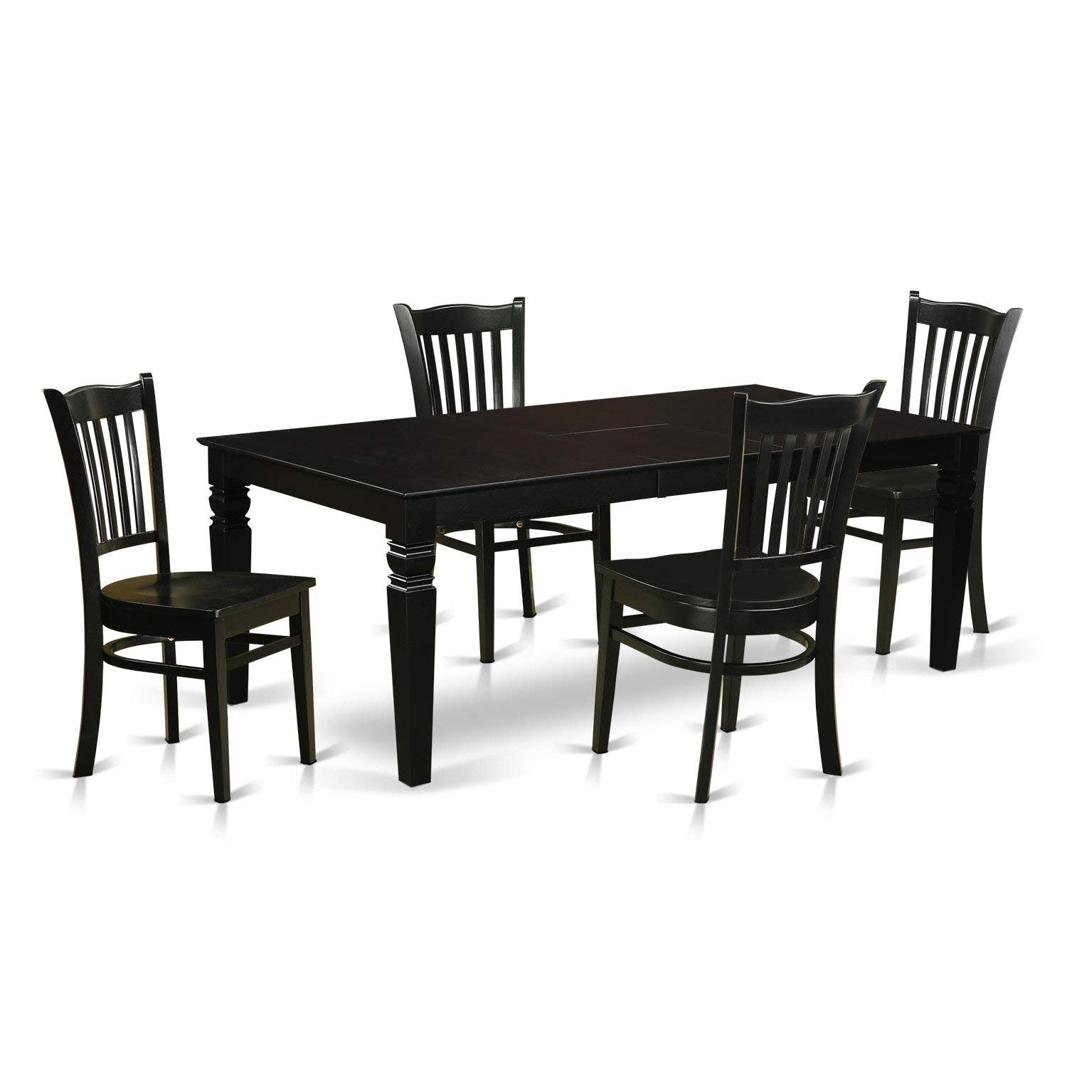 East West Furniture LGGR5-BLK-W 5 Piece Dining Table and 4 Wood Kitchen Chairs, Black