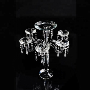 5 arms unique wedding crystal candelabra with candle holder