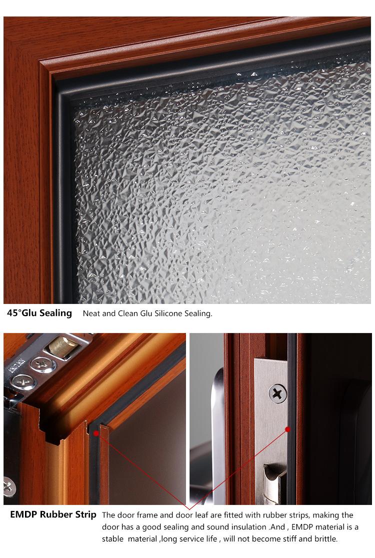 Rogenilan 45 Series Wood Color Front Door Design Aluminum One And