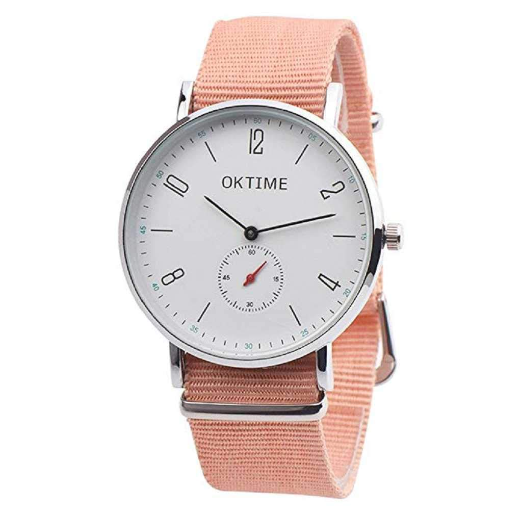Clearance Sale! Womens Watches,ICHQ Womens Mens Unisex Canvas Quartz Watches Big Face Casual Pointer Alloy Analog Wrist Watch Teens (A)