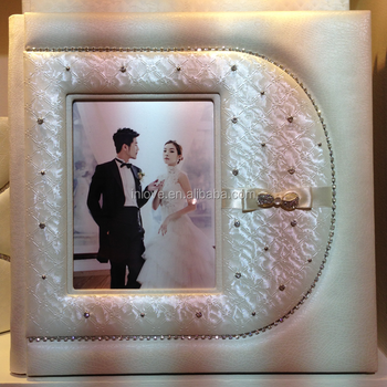 new design unique white ribbon bow digital leather wedding album