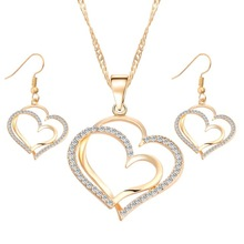 Romantic Heart Pattern Crystal Earrings Necklace Set Silver Color Chain Jewelry Sets Wedding Jewelry Valentine's Gift NS180884