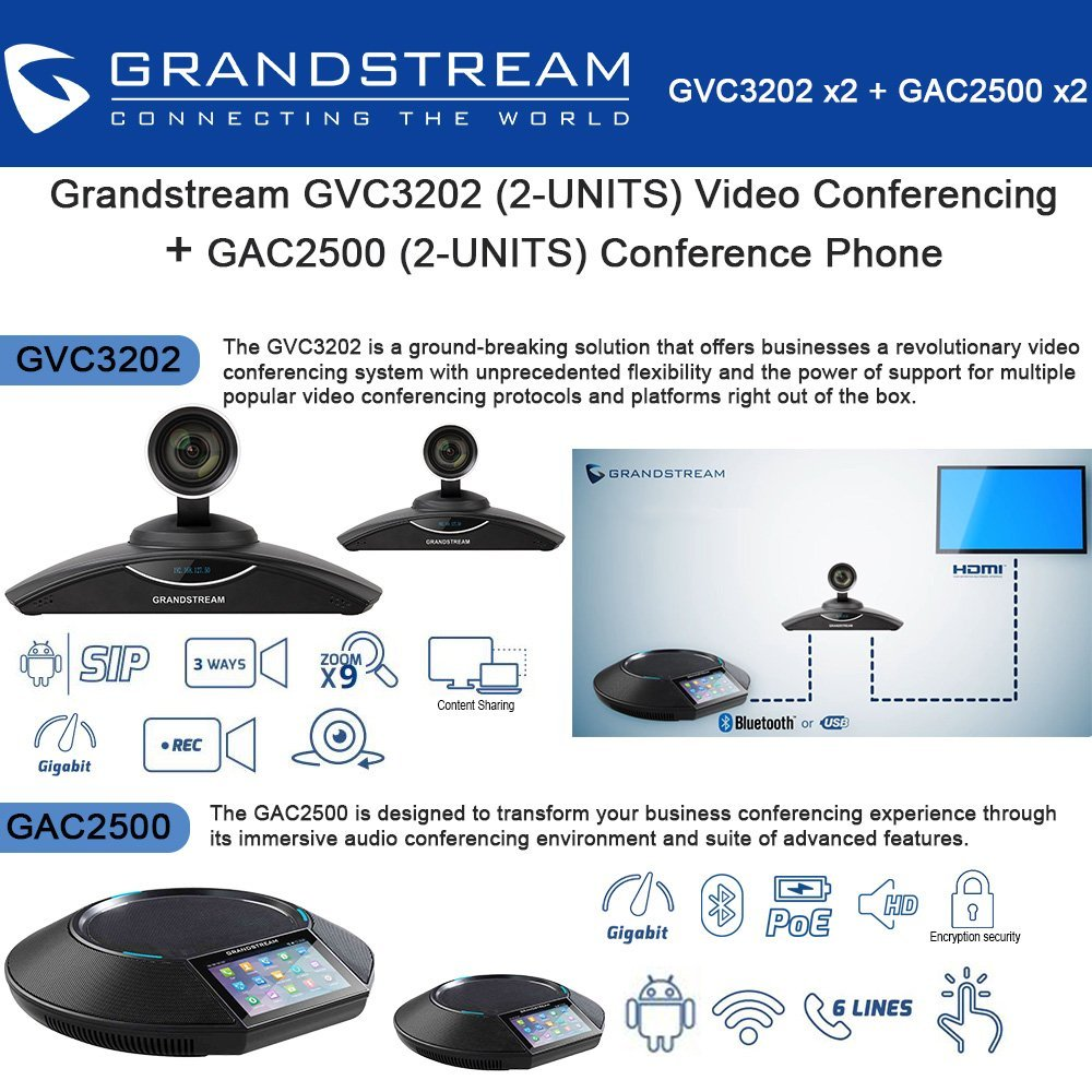 Grandstream GVC3202(2x)Video Conferencing + GAC2500(2x)Conference Phone