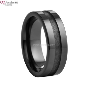 Custom width ,depth grooving black blank ceramic ring for carbon ,wood, enamel ,gold ,silver ,stones inlay