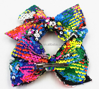 "hot sale 5"" Sequin bows hair bow with hair Clips For Baby Children"