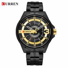 Часы CURREN для мужчин, армейские кварцевые часы, уникальный дизайн, часы с Циферблатом из нержавеющей стали, мужские наручные часы(Китай)
