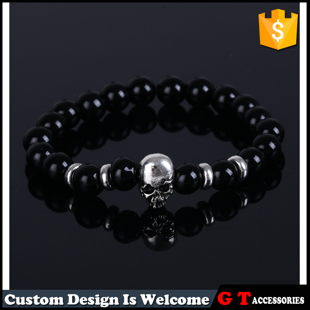 Custom Natural Stone Black Onyx Beads Stretch Mens Womens Bracelet