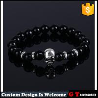 Custom Natural Stone Semi-Precious Black Onyx Beads Stretch Mens Womens Bracelet