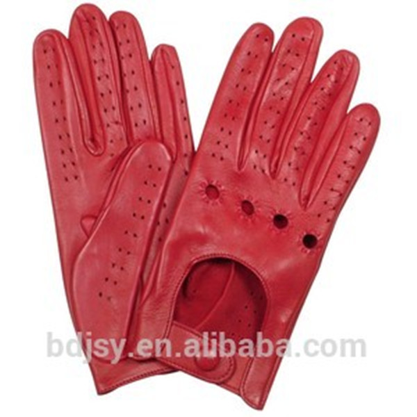 women dressing fashion sexy short red leather driver glove