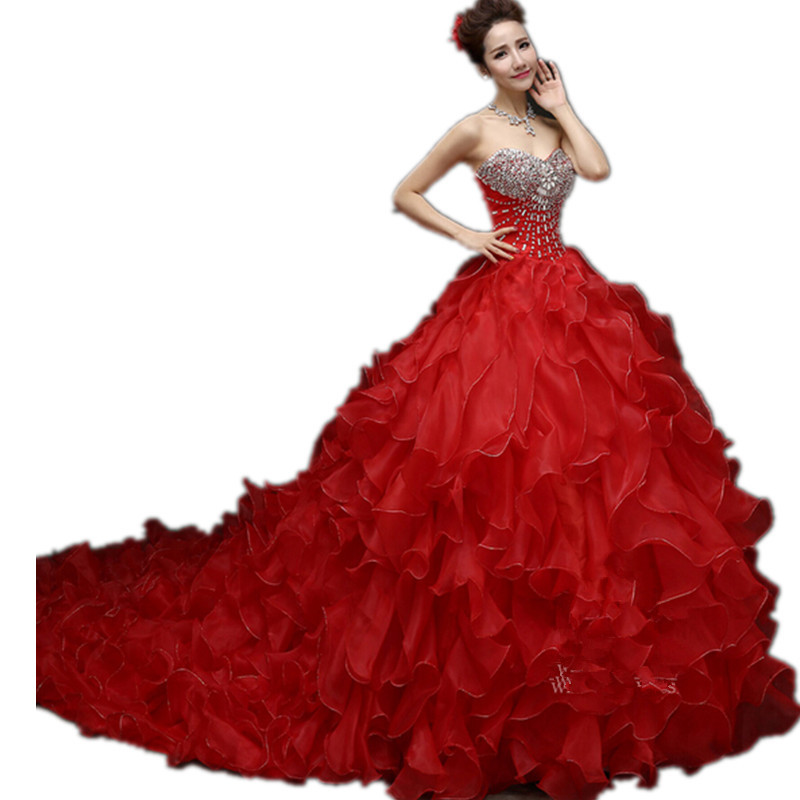 Get Quotations  C2 B7 Red Elegant Bride Gown Off Shoulder Shiny Bright Crystal Slender Wedding Dress Women Ball Gown Fashion