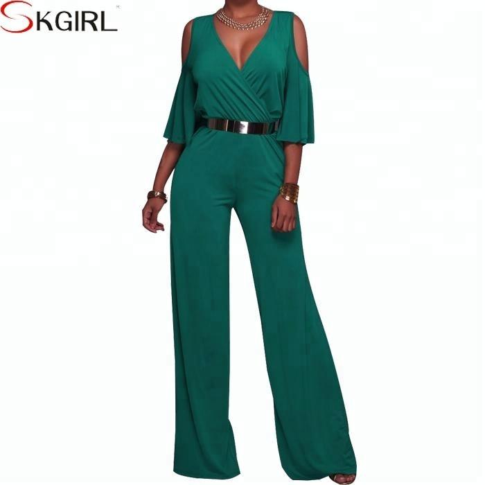 Emerald Green V Neck Sleeveless Designer Belted Elegant Formal Women Jumpsuit Buy Ladies Formal Jumpsuitdesigner Jumpsuit Womenjumpsuit Fashion