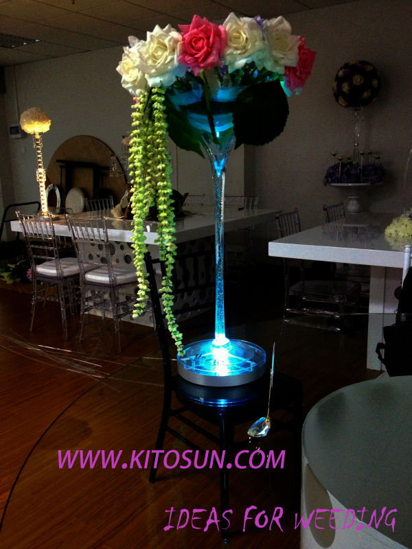 Crystal Centerpieces 8inch Led Vase Light Base With Remote Control And Rechargeable For Wedding Party Decoration