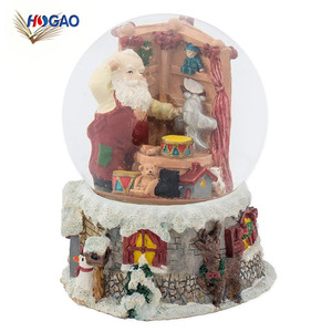 Wholesale hand painted resin Santa Claus cheap snow globe custom made music water globe