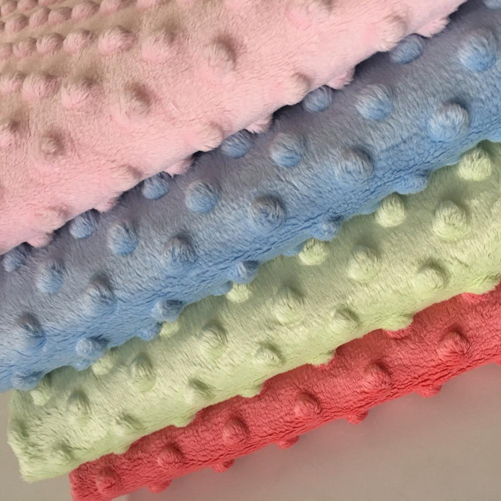 Textile Usage Super Soft Polyester Minky Fabric Dot For Baby Wear