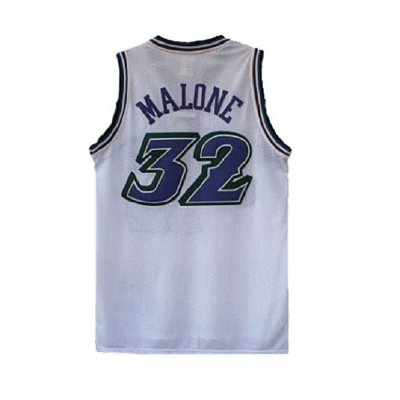 aac9cf9830b Get Quotations · maodege Men's Karl Jerseys Utah 32 Basketball Jersey  Malone Jerseys White