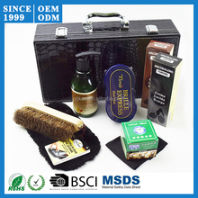 Elegant Black PU Leather Case Shoe Polish Kit With Shoe Care Accessories