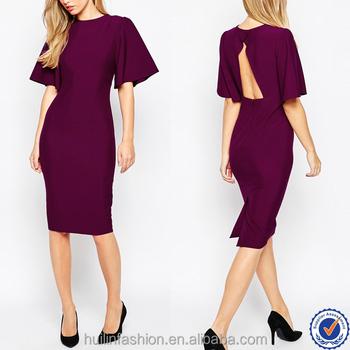 7cd6c8ee0 Nova moda ampla manga aberta de volta vestido de fábrica vestido oem lápis  vermelho vestido de