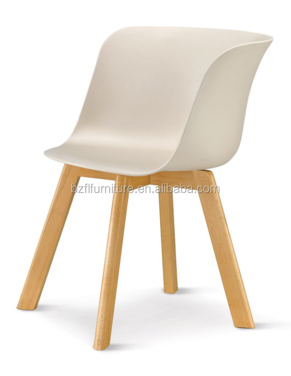 new design cheap colorful plastic dining chair with wooden legs chair