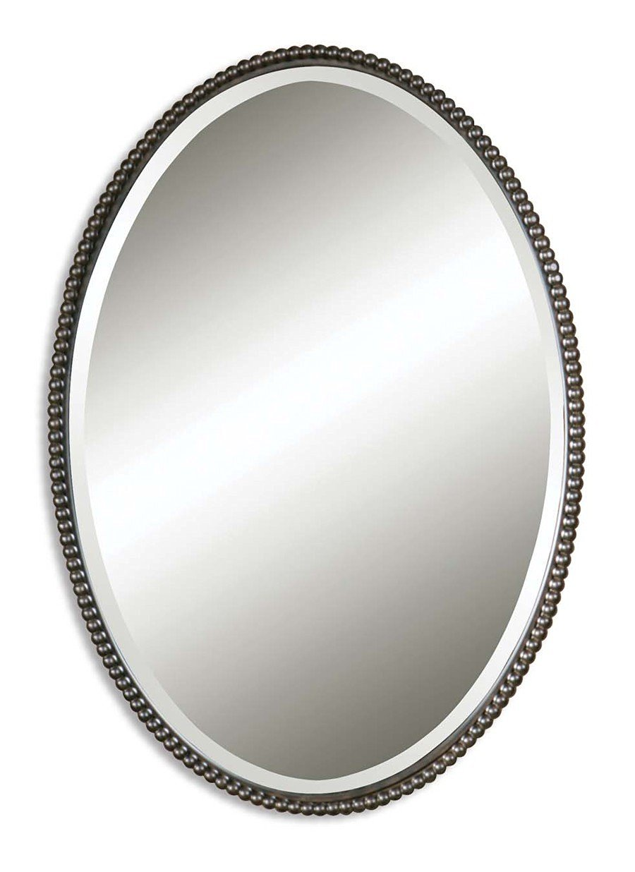 Oil Rubbed Bronze Sherise Oval Beveled Mirror With Beaded Frame 01101 B