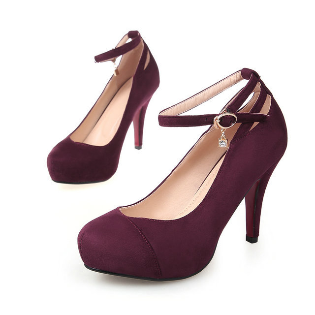 freeshipping hot sale women sexy fashion suede leather pumps heeled platform high heel shoes black red wine red wedding shoes