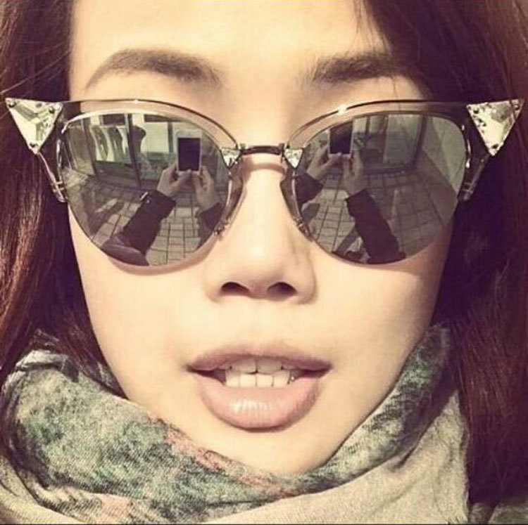 Cat Eye Mirrored Sunglasses  whole cat eyes mirror lenses revo lens eye glasses fashion