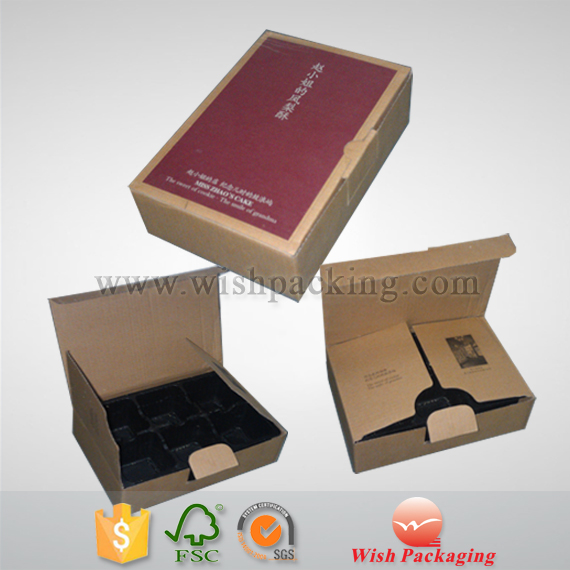 Fixed plastic film blister Inner tray, inlay, insert, single E flute board Paper corrugated package foldable box