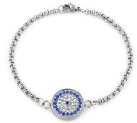 Fashion white and blue cubic zirconia 14k gold plated evil eye charm bracelet