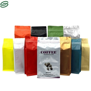 Custom printed side gusset plastic coffee packaging bag with valve stand up pouch bag