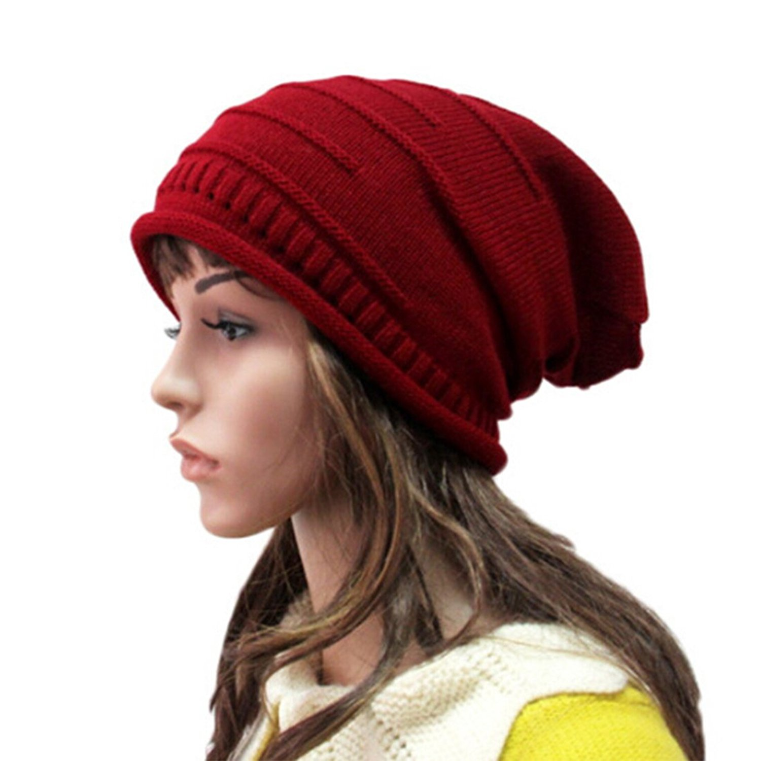 9a8ac557456 Get Quotations · Trendy Warm Chunky Soft Stretch Cable Knit Beanie Skully  Hats for Women   Men