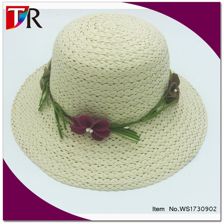 fashion flower to decorate floppy hat straw women summer beach hat