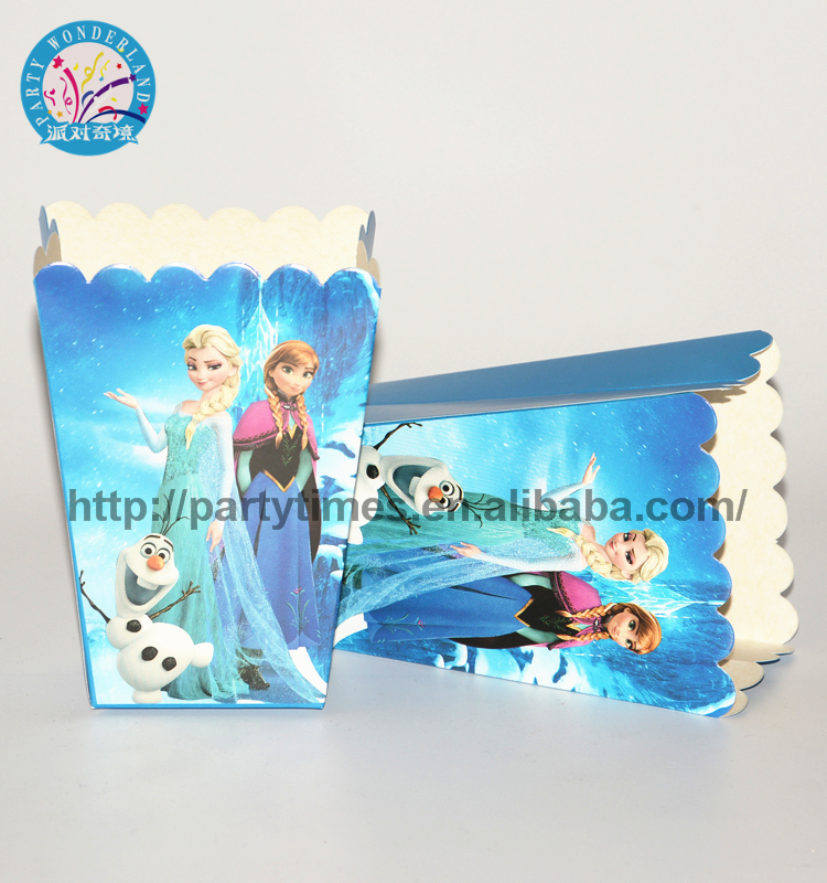 2019 Frozen Princess Party Supplies For Kids birthday decoration Candy Box Girls favorite Popcorn Boxes