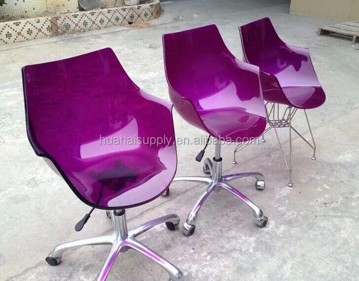 nouveau design acrylique violet pivotant chaise de bureau chaise de bureau id de produit. Black Bedroom Furniture Sets. Home Design Ideas