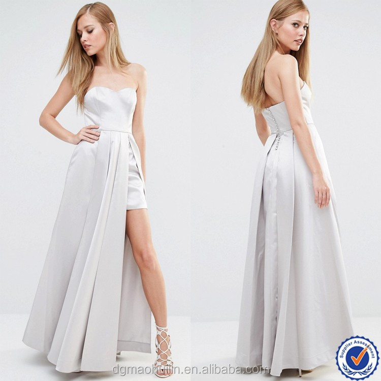 Custom women clothing sweetheart neckline satin fabric leg slit maxi beautiful lady fashion dress