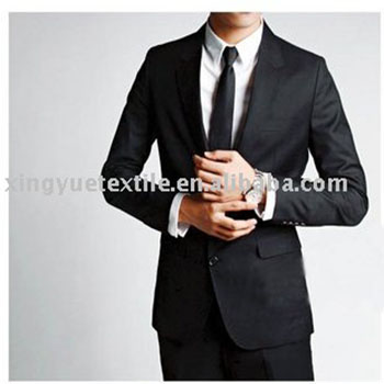 slim fit made to measure black man business suit model