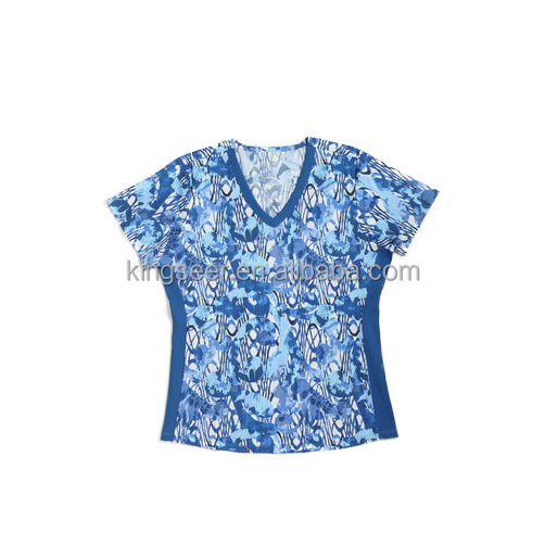 Guangzhou Factory Customized V-neck Stretch Ladies Prints top