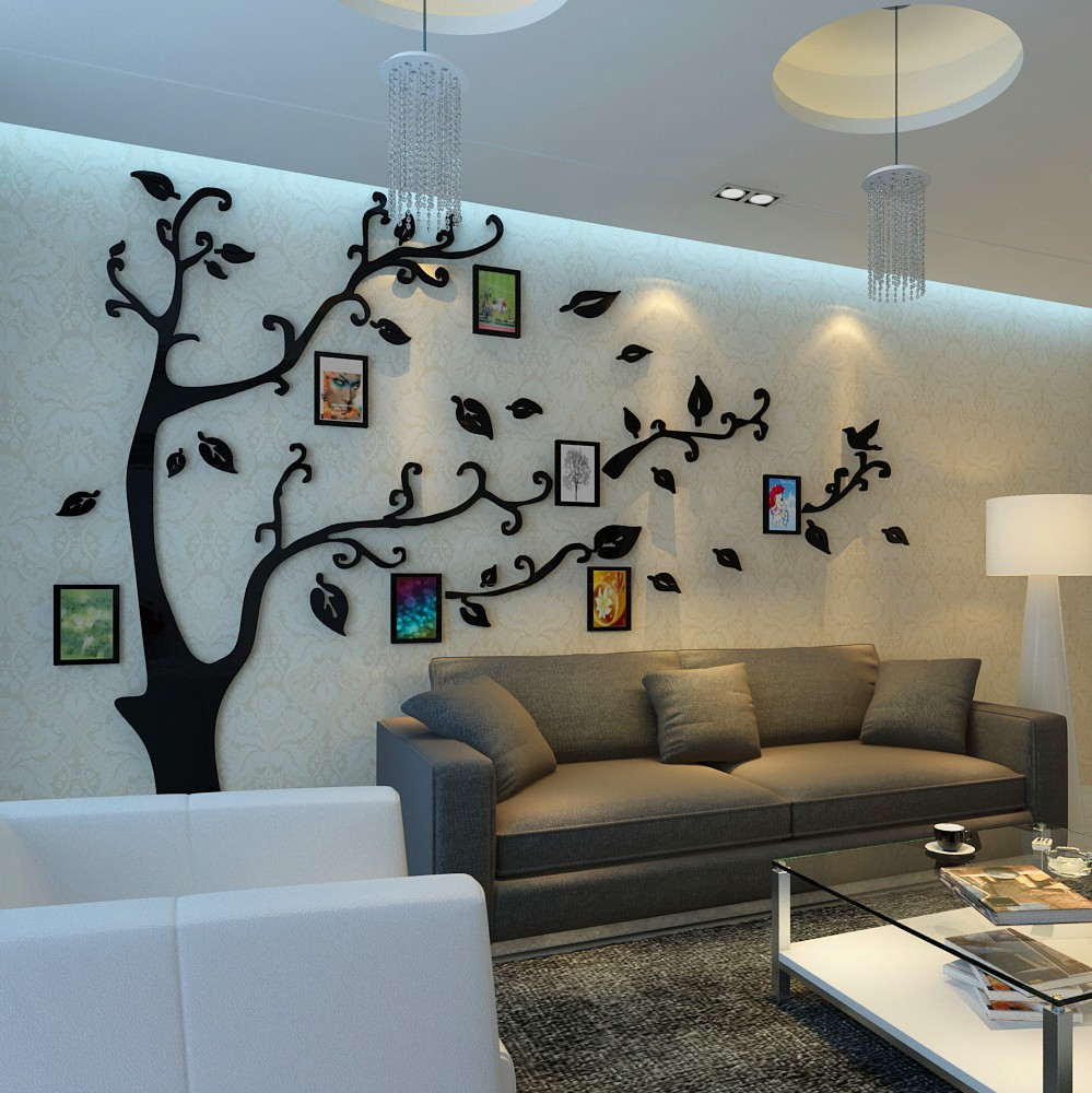 Cheap 12pcs photo frame tree wall stickers crystal acrylic - Cheap wall decals for living room ...