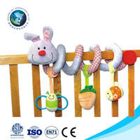 Customize fashion cute plush rabbit baby bed hanging toy soft baby crib hanging toy rattle bell baby musical hanging toy
