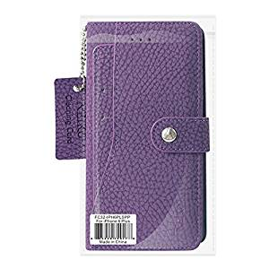Reiko Credit Card Wallet Case With Slide Out Pocket & Fold Stand for iPhone 6 Plus/6s Plus - Purple