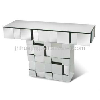 Contemporary Style Decorative Art Deco Multi Faceted Mirrored Furniture  Console /Hall Table/ Dressing