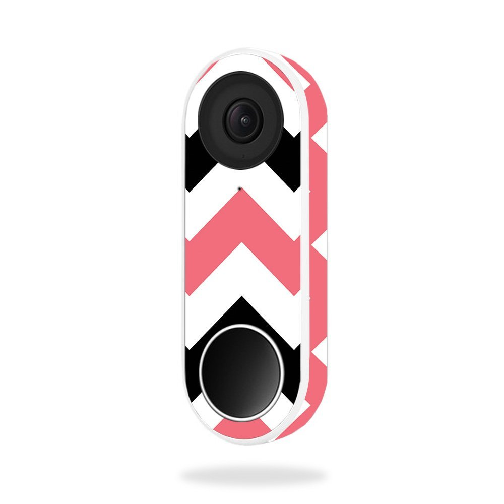 MightySkins Skin for Nest Hello Video Doorbell - Black Pink Chevron | Protective, Durable, and Unique Vinyl Decal wrap Cover | Easy to Apply, Remove, and Change Styles | Made in The USA
