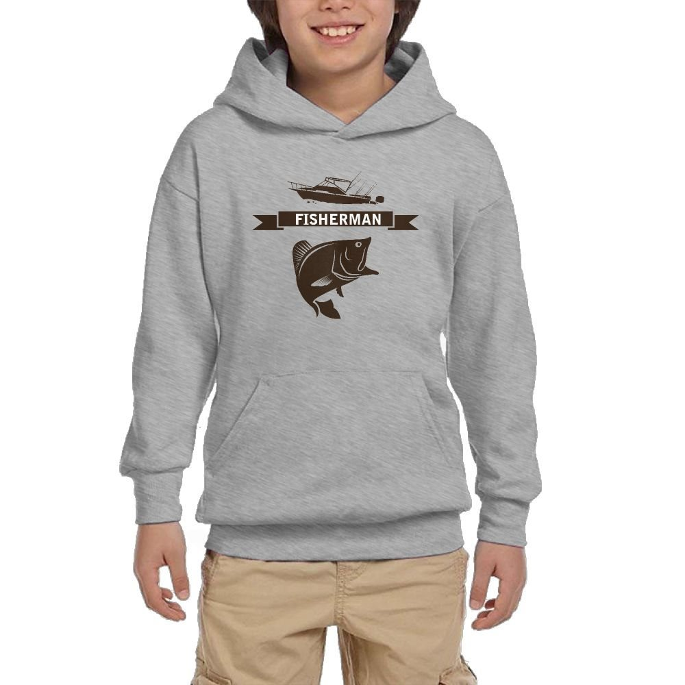 Fisherman Funn Youth Casual With Pocket Hoodies Hot Tops Pullover Sweatshirts