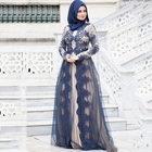 2019 Muslim Evening Dresses Long Sleeves Lace Appliques A Line Elegant Arabic Prom Gowns Mother Of The Bride Dress