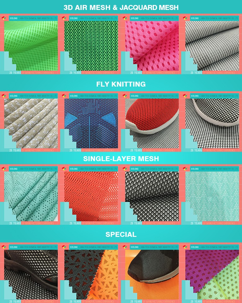 Different Types 3d Spacer Knitted Air Mesh Fabric Shoe