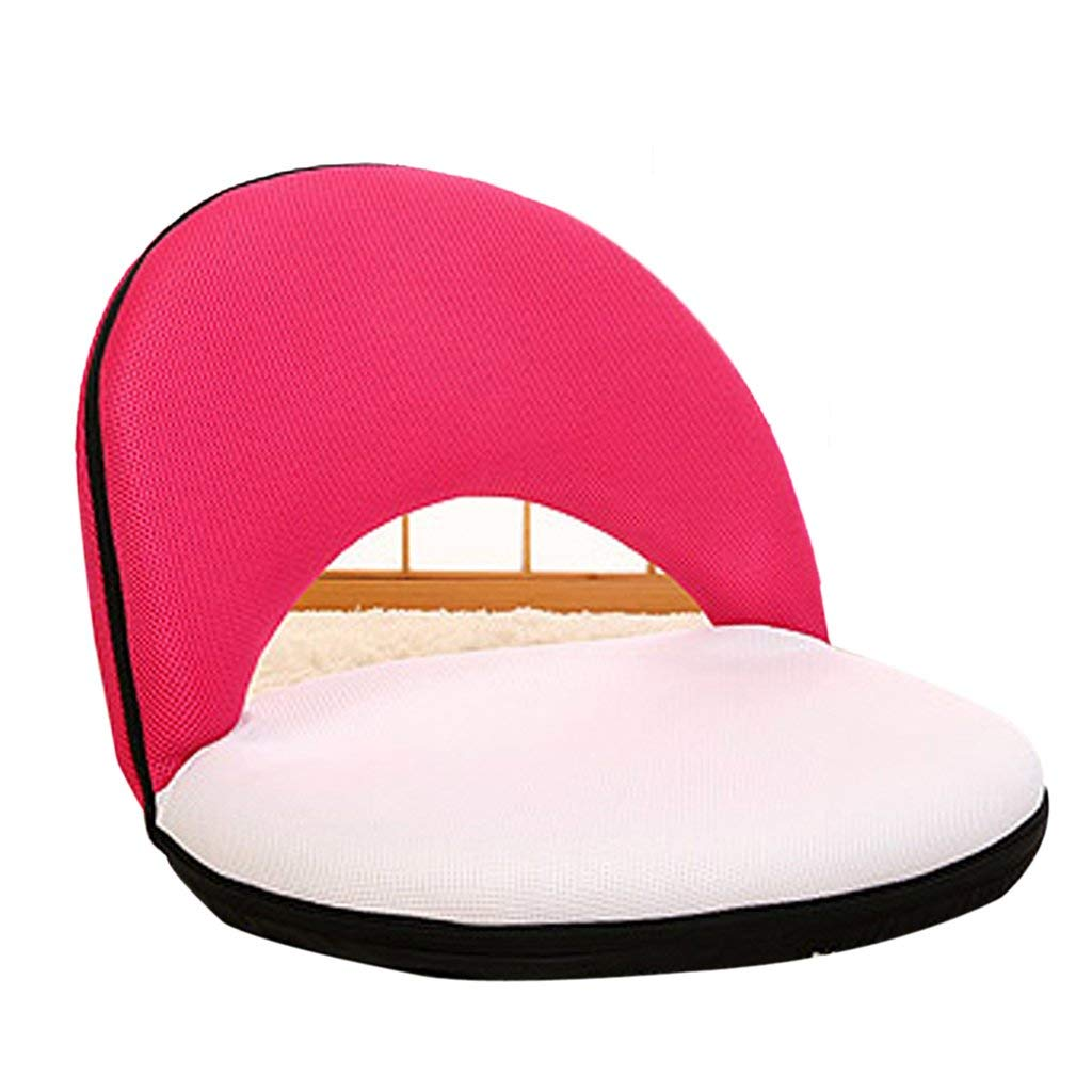 Li Jing Firm Lazy couch stylish backrest chair single small sofa cute casual stool adult folding tatami sofa cushion chair bed chair washable (Color : Red white)
